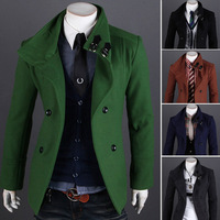 2013 autumn winter fashion short design double breasted woolen outerwear warm men's coats casual cotton jackets free shipping