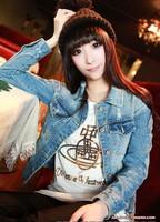 tops jean hole new 2014 cardigan women winter coat jeans women's jackets winter coats for women denim korean coat woman coats