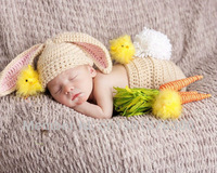 Free shipping cute new rabbit style baby hat and shorts handmade crochet photography props baby hat and shorts