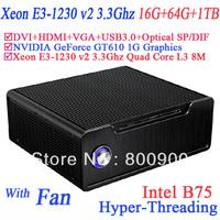 mini server with Xeon E3-1230 v2 Quad Core 8 threads windows 7  64 BIT16G RAM 64G SSD 1TB HDD intel B75 NVIDIA GeForce GT610 1G