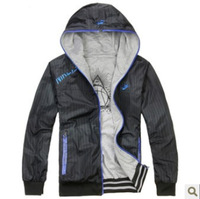 Free shipping + The autumn of 2013 the new men's hooded jacket/coat , men's sports clothes, both sides to wear