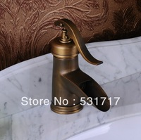 Free Shipping  Waterfall Single Handle Antique Brass Mixer Bath Bathroom Sink Basin Faucet sk40