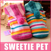 Free Shipping 2 Colors Pet Dog Clothing Dog Winter & Autumn Sweaters dog winter clothes Dog Lolita cake striped sweater XS,S,M,L
