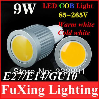 9W COB GU10 E27 LED Spotlight Bulbs 120 Degree CE & RoHS 2 Years Warranty, Free Shipping