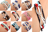 HOT!! 50pcs/lots One Direction Anchor Infinity  Antique Cross Love Peace Heart Music mix  Leather Bracelet Charm Wristbands SET