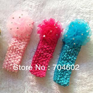 Crochet Elastic Hair Band : promotion Tulle Mesh Chiffon Flower With Elastic Crochet Hair Band ...