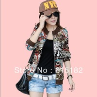 Free Shipping 2013 women jacket Plus size Fashion Short jacket Vintage Leopard Print Long-sleeve Coats XL-3XL