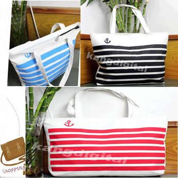 M65 M65 Fashion Stripes Canvas Shoulder Tote Handbag Travel Eco Recycle Shopping Bag New