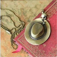 Free shipping retro punk style cowboy hat long paragraph sweater chain women and men necklace vintage jewelry wholesale