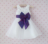 MBK-13081302a Wholesale New 2015 Flower Girl Dresses Sleeveless 3-8 Years Children Girls Party Dress with Bowknot Free Shipping