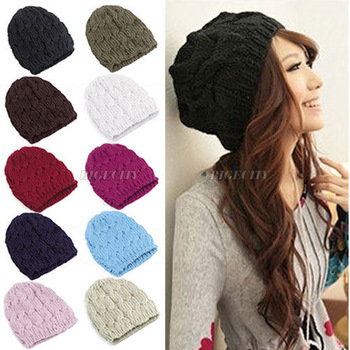 10X  HK Free Shipping! 2013 Autumn Winter Knitting Wool Hat for Women Lady Caps Crochet Beanie Knitted Hats 9 Colors Black/Red