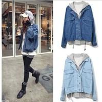 2014 cardigancasual dress plus size denim outerwear women clothes fashion denim jacket with hoodie women sale ladies' jacket