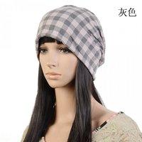 England plaid scarf hat tide men and women fashion scarf hat set of head cap Dongkuan dual piles of Baotou cap hat
