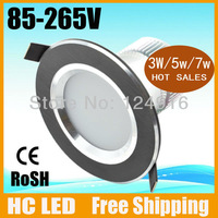 Free shipping,3w/5w/7w led downlight,AC85-265 CE&ROHS,Warm/cool white/red blue yellow Fixture Aluminium indoor lighting led
