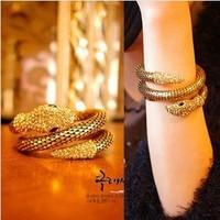 fashion snake punk rock bracelet wide cutout serpiform arm bracelet hand ring vintage multi-layer female 42g