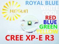 10PCS ORIGINAL CREE Xlamp XPE XP-E R3 1W 3W Cool White Royal Blue Red Green Blue Yellow High Power LED Bulb with 16mm Heatsink
