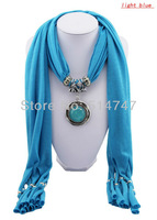 Free Shipping 2013 Pendant Scarf Jewelry New style Turquiose Charms Scarves with Cotton A0004