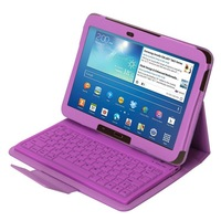 Purple Wireless Detachable Bluetooth Keyboard Leather Case Cover For Samsung Galaxy Tab 3 10.1 P5200 P5210 P5220 + Retail Box