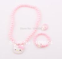 Fashion Cute Children Hello Kitty Necklace Jewelry Set Girl Kids Baby Necklace Bracelet Ring Set ZST9