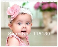 (min order is $10) ---lovely pink lotus lace infant /children's hairband ,girls flower accessies