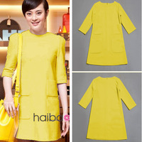 New Arrival Popular and Fashion Yellow Dresses Woman Free Shipping Half Sleeve O Neck Slim Lady Dress with Pockets 2013082118