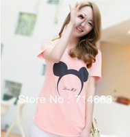 HOT SELLING Mickey Mouse Cartoon Round Collar Short Sleeve Cotton 5COLORS T-shirt KNY005