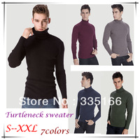 NEW Men Turtleneck Sweater Black/Blue/Army Green 7Colors,   Slim Mens High Collar Plain Thickening Stretched Sweaters  #JM09521