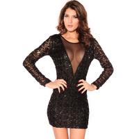 2015 Sexy Women Sequin Party Mini Dress Black Plus Size Sexy deep V-neck racerback paillette big plus size party dresses S-XXL