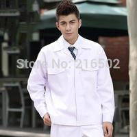 FREE SHIPPING Set of Coat+Pants pure white color food service uniform food factory uniform ac-974