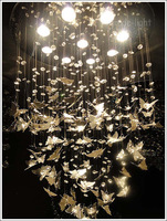 "Dia 50cm/19.7"" Stainless steel butterfly Crystal lamp ceiling Absorb dome light LED Bulb(Customized size)"