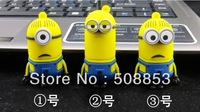 3Pcs/lot New Despicable Me Minions 2GB - 32GB USB 2.0 Flash Memory Card Thumb/Car/Pen Drive Gift Free Shipping