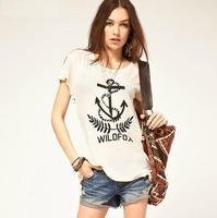 2014 New Women Fashion Starboard Wildfox Letter Print Short Sleeve Cotton T-shirt Size:XS-XXL