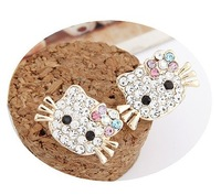 2013 New Fashion Cute Hello Kitty Bowknot Rinestone Stud Earrings For Girls Wholesale Cheap Earrings Jewelry 12Pairs/lot
