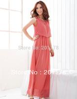 2014 Rushed Vestido De Festa Vestido Women Dress Free Shipment Women Bohenmia Wave Strap Princess Chiffon Maxi Colors Retail357