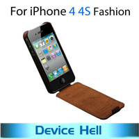 Luxury Retro High quality PU leather flip case for iphone 4g Original Fashion Brand hard cover for iphone 4s bulk Free shipping
