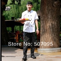 FREE SHIPPING set of coat+pants+cap Cook suit checkedout work wear short-sleeve tooling piece set cook suit set