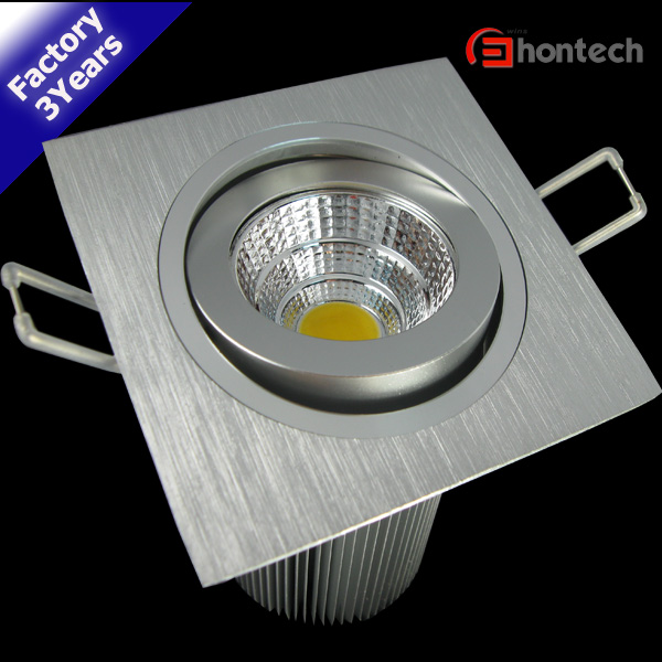 2pcs/Lot Square Cob Silvery 85-265V Cutout75mm Led Downlight 15w Cree Kit With Transfer Factory Price Free Shipping(China (Mainland))
