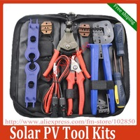 MC4 MC3 Solar Crimping Tools /Solar PV Tool Kits, Crimper&Stripper&cutter&spanner with solar testing lead Free shipping
