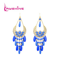 New Fashion Hot Selling Wedding Gift  Gold Color Pink  Imitation Gemstone Bohemia Flower Design Alloy Drop Earring for Women