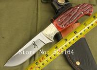 New Arrival 7Cr17MOV 58.5HRC Browning Born Wild Hunting Knife, Camping Knife, KF-047+Cupronickel (Cut) + Beast Bone Head