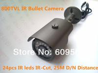 Newest 700TVL/800TVL 960H Color Weatherproof Bullet Camera with IR-Cut, 24pcs IR Leds get 25 Meters Night Vision Range