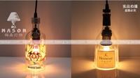 HOT Luxury Glass Bottle lamp Pendant Light Wine Vodka hennessy  Bottle Lamps E27  Personality For Loft Bar Coffee Restaurant OEM