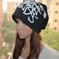 Free shipping 1 pcs new winter graffiti letters Skullies Beanies hats men and women knit caps hip-hop caps multi-color R27