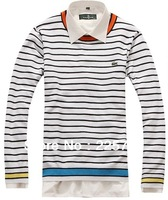 Free shipping M-XXL La* fashion brand new men cotton color stripe sweater men knit pullover MST13001
