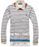 Free shipping M-XXL La* fashion brand new men cotton color stripe sweater men knit pullover MST13001