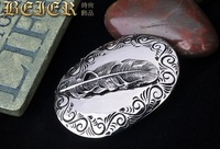 Free shipping,Titanium steel belt buckle, embossed feather belt head, fashion belt buckles wholesale