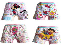 Free Shipping Wholesale Cotton Small Underwear Children Kids Panties Girls Boxer Briefs  12 PCS/lot Multicolor Free shipping