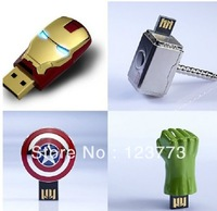 "New 4pcs together( with Original box )ironman/Thor'hammer/hulk""hand/Captain America shield shape usb flash drive pen drive"