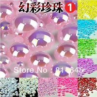 Free shipping 1000pcs/bag mixed 2 3 4 5 6 8 10mm ABS AB color imitation pearls half round flatback pearls for DIY decoration