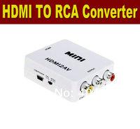 20PCS/LOT  HDMI input Digital to RCA Analog Audio/Video Composite CVBS Output Converter/AV HK POST FREE SHIPPING